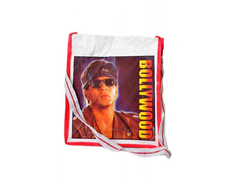 Plátěná taška přes rameno s barevným tiskem Bollywood, 30x35x12cm