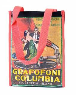 Plátěná taška přes rameno s barevným tiskem Grafofoni , 23x31x14cm