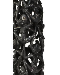 Sloup Lombok, černý, perleťové intarzie, 34x34x202cm