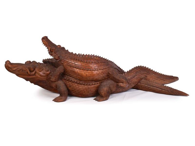 Krokodýl s mládětem, cca 1,5m, 150x50x45cm