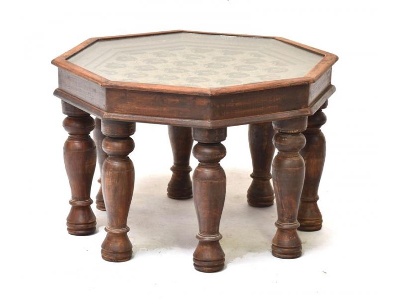 Stolek z palisandrového dřeva zdobený mosazným kováním, 59x59x40cm