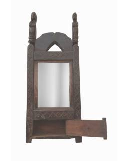 Antik rám se zrcadlem, řezba kůň, šuplík, 20x51x6,5cm