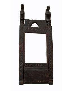 Antik skříňka se zrcadlem, ručně vyžezávané ornamenty, 20x51x6,5cm