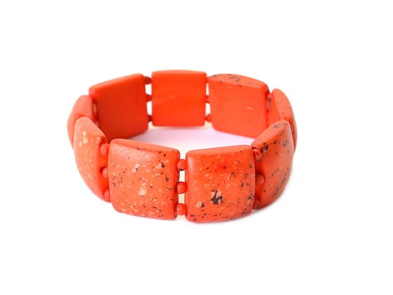 Náramek, kost, čtverce, oranžové, na gumičce
