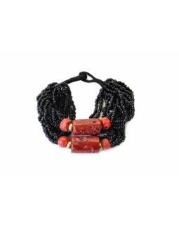 Náramek, sklo, 2 červené korále, černé korálky
