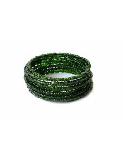 Náramek, sklo, spirála, průhledná zelená