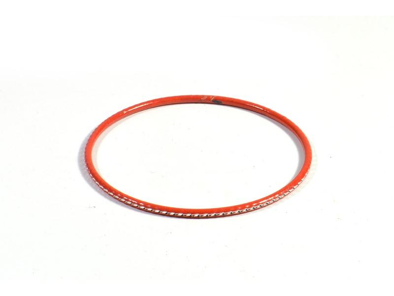 Kruhový náramek s jemným stříbrným vzorem, oranžový