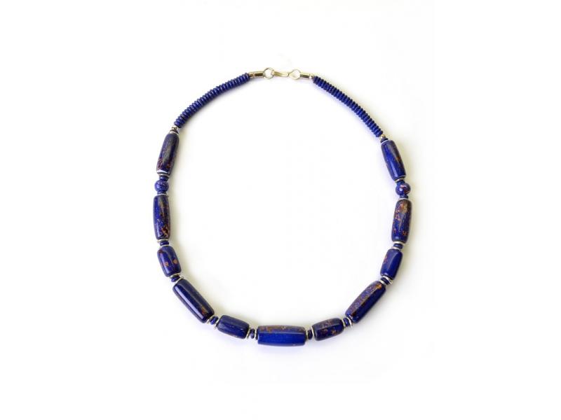 Tmavě modrý kostěný náhrdelník, válečky