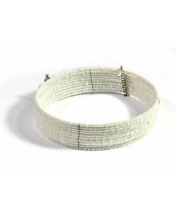 Kruhový náhrdelník ze skleněných korálků, 10 řad, perleťově bílý