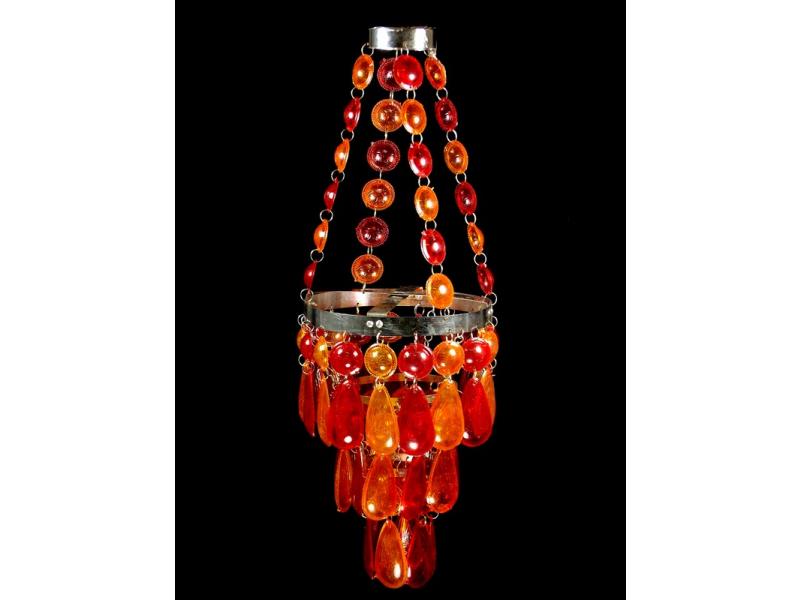 Ozdobný plastový lustr - stídnilo, červeno oranžové korálky, 53cm