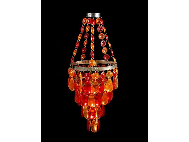 Ozdobný plastový lustr - stínidlo, červeno oranžové korálky, 61cm