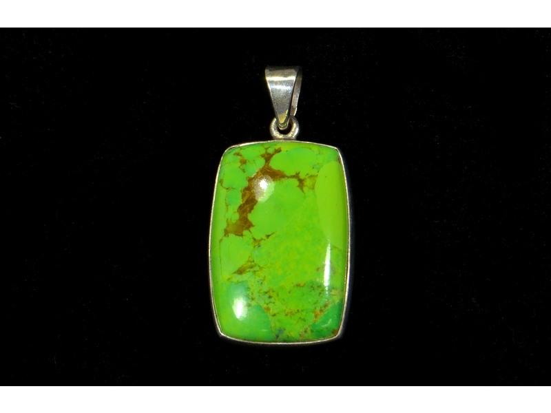 Stříbrný přívěsek, zelený mohave, 3cm, AG 925/1000