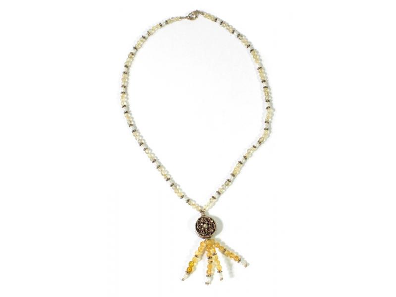 Bohatě zdobený náhrdelník se stříbrem, perlami a citrínem, AG 925/1000