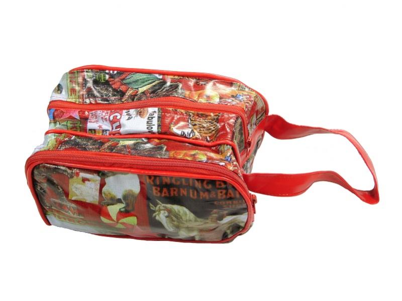 Neceser velký, recyklovaný plast, obrázky tisk červený, 12x21x13 cm