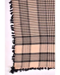 """Šátek, """"Palestina"""", viskóza, sv.hnědý/černý, třásně, cca 120*120cm"""
