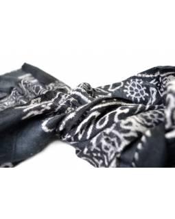 Šátek - bavlna, mantra, černý, 130x62cm