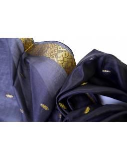 Šátek, sárí, černý, třásně, 177x55cm