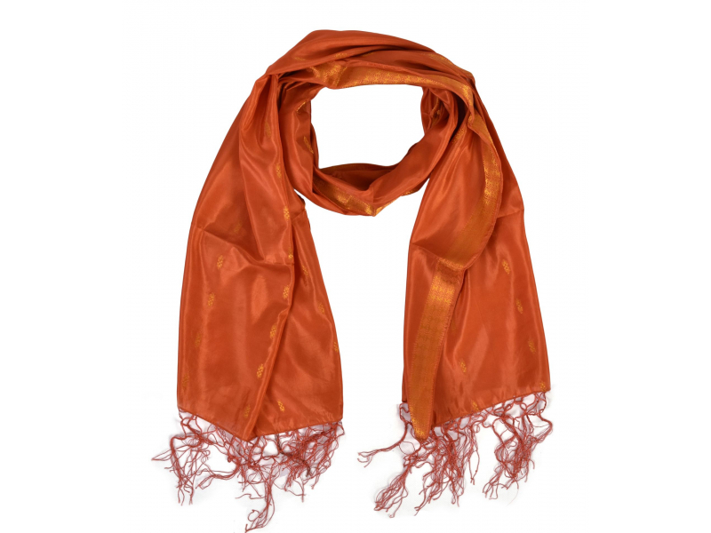 Šátek - polyester, sárí, tm. oranžový, 186x53cm