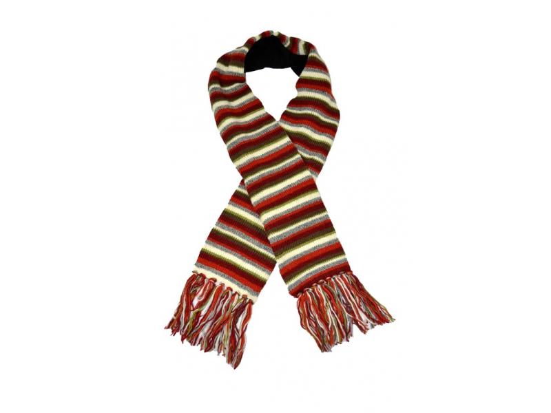 Pruhovaná červeno bílo zelená vlněná šála s třásněmi
