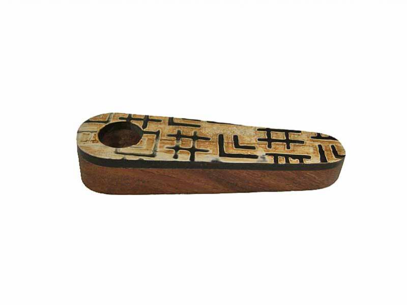 Dýmka - rohovina + dřevo, oblá, etno