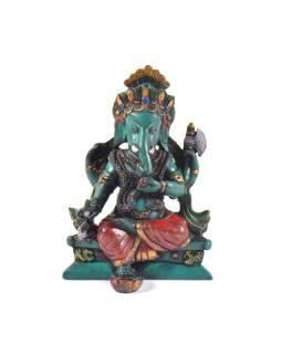 Ganesh sedící, tyrkysový, ručně barvený, 11cm