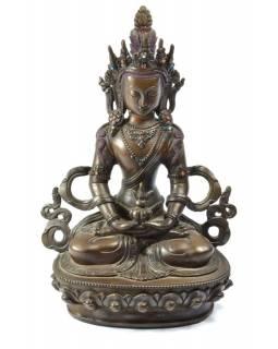 Soška, Buddha Amitájus, měď, zdobeno polodrahokami, 22 cm