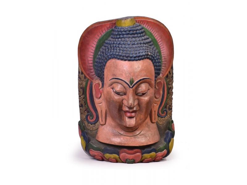 Dřevěná maska, Budhova hlava, 70cm