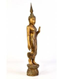 Narozeninový Buddha teakový 25'' -  zlatá patina