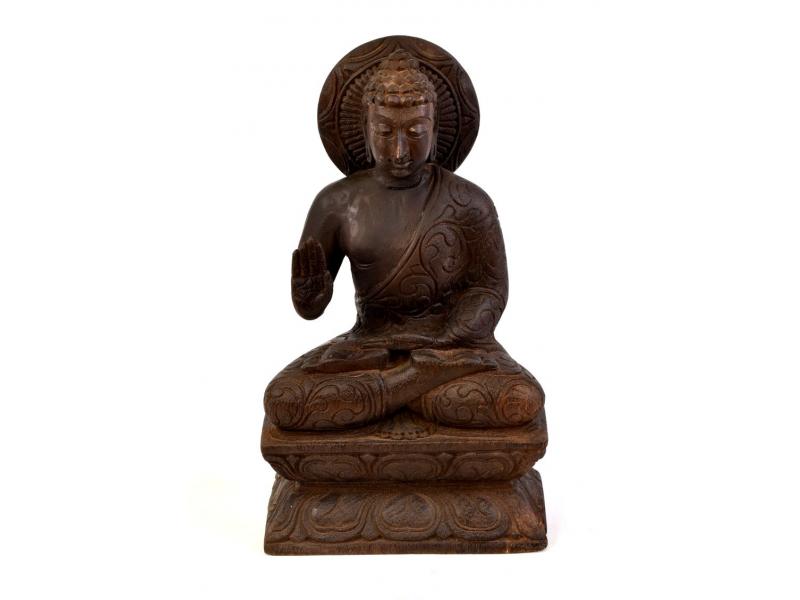 Dřevěná socha Buddhy z jižní Indie, rain tree wood, 16x10x29cm