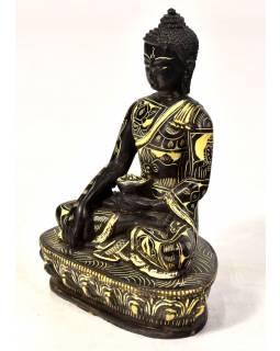 Buddha Šakjamuni, sedící, vyřezávané roucho, pryskyřice, 14cm