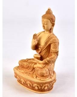 Soška Amóghasiddhi Buddha, barva slonové kosti, ručně vyřezávaný, 19cm