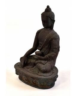 Soška Buddha Šákjamuni, antik patina, ručně vyřezávaný, 19cm