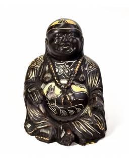 Soška smějící se Buddha, ručně vyřezávaný, pryskyřice, 10cm