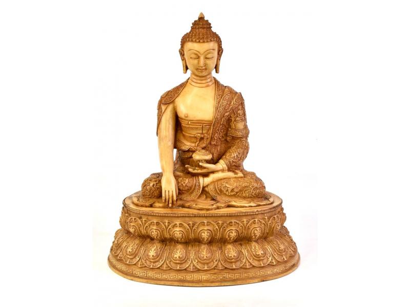 Buddha Šakjamuni, řučně vyřezávaný, pryskyřice, 45cm
