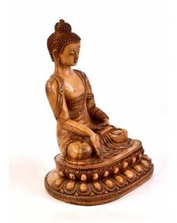 Buddha Šakjamuni, řučně vyřezávaný, pryskyřice, 32cm