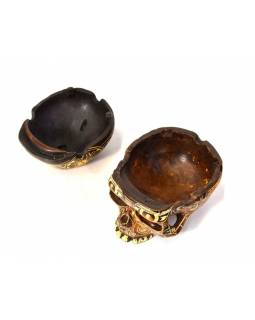 Lebka, rozkládací, ručně vyřezávaná, pryskyřice, 10cm