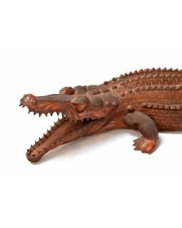 Krokodýl ručně vyřezaný ze suarového dřeva, 200x60x33cm