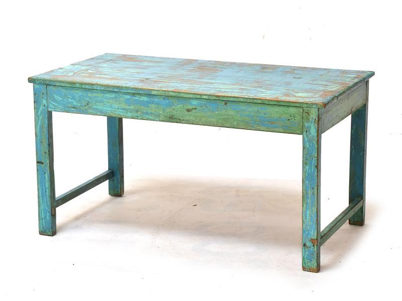 Konferenční stolek z teakového dřeva, tyrkysová patina, 106x58x56cm