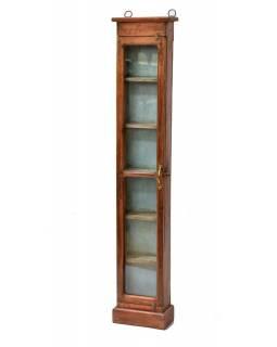 Prosklená skříňka z antik teakového dřeva, 23x14x127cm