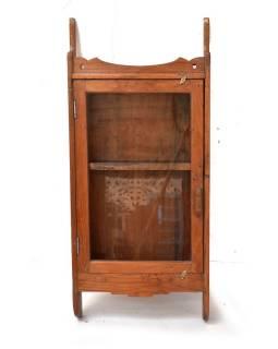 Prosklená skříňka z antik teakového dřeva, 41x10x90cm
