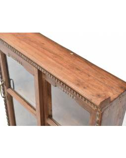 Prosklená skříňka z antik teakového dřeva, 63x17x75cm