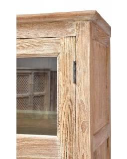Prosklená skříň vyrobená z teakového dřeva, 96x40x180cm