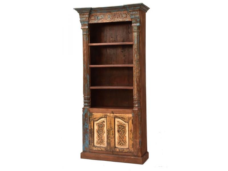 Knihovna vyrobená ze starého portálu, teakové a mangové dřevo, 105x49x229cm