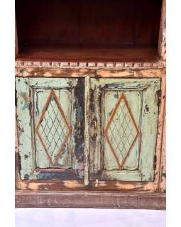 Knihovna vyrobená ze starého portálu, teakové a mangové dřevo, 101x47x218cm