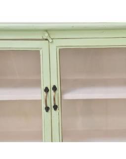 Prosklená stará skříň se vyrobená z mangového dřeva, zelená patina, 141x33x116cm