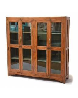 Prosklená skříň vyrobená z teakového dřeva, 150x38x151cm