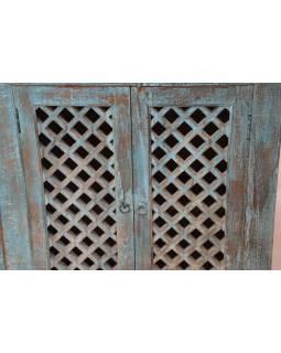 Stará komoda z mangového dřeva, dřevěná mříž, tyrkysová patina, 167x43x111cm