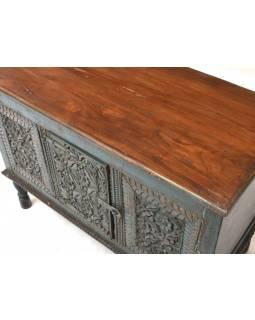 Stará komoda z mangového dřeva, ruční řezby, tyrkysová patina, 102x49x75cm