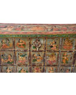 Stará truhla z mangového dřeva ručně malovaná, 132x45x89cm