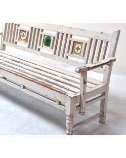 Lavička z teakového dřeva zdobená starými dlaždicemi, 188x54x92cm